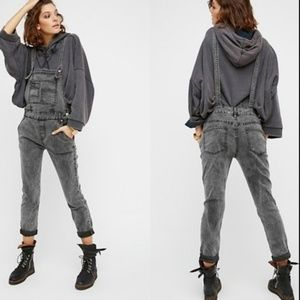Free People Relaxed Boyfriend Gray Denim Overalls